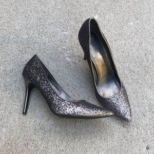 MK silver gray glitter pumps mirror heel 8 8M